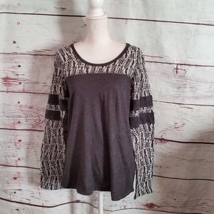 Prana Long Sleeve Gray Leightweight Top Size Large